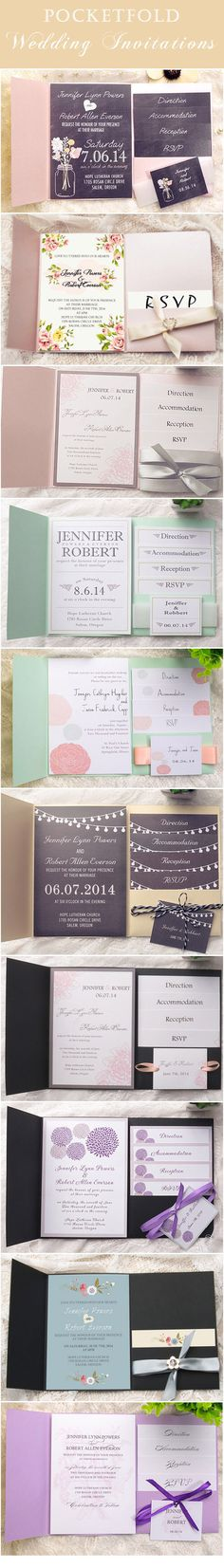 elegant pocket wedding invitations with free response cards and envelopes to match your wedding colors