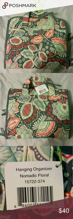 Vera bradley hanging organizer Hanging bag! New with tags! Perfect for cosmetics and other bathroom items! It folds up for easy travel! Vera Bradley Bags Travel Bags