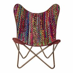 for me with a footstool - sunroom - everyone else can go away and leave me with my plants! Recycled cotton woven chair, multicoloured