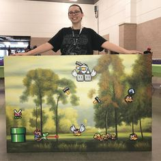 Super Mario World forest perler art
