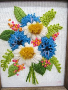 Vintage Crewel Embroidery Wall Hanging