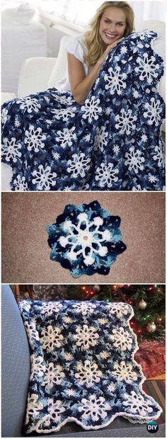 Crochet Dusty Snowflake Throw Blanket Free Pattern & Video - Crochet Christmas Blanket Free Patterns