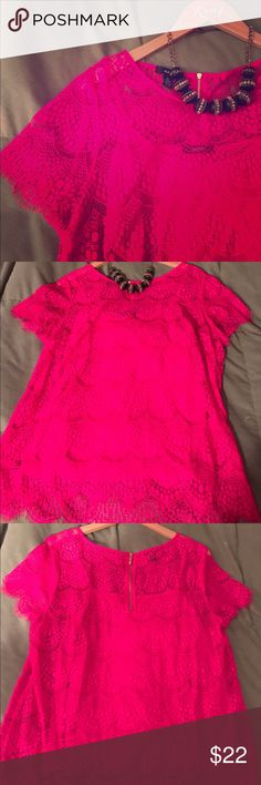 "💕NWOT Gorgeous Pink Lace Top 💕 NEVER WORN! Absolutely gorgeous pink shade, it's the kind of shade that looks good on ANYONE! Short sleeve top with detachable, matching cami underneath. Beautiful lace details front and back, scalloped edges on sleeves and bottom hem. Exposed gold zipper in the back. Measures 26 1/2"" long, 21"" armpit-armpit, could easily fit M-XL, runs a hair small. Would be a fabulous NYE or date night top. Pair with black pants, pumps and gold accessories and you're good…"