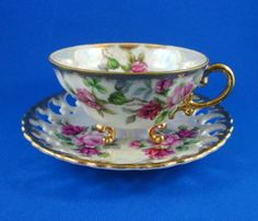 Reticulated Luster Three Footed Rose Design Shafford Tea Cup and Saucer Set