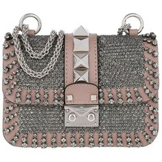 Valentino Shoulder Bag - Mini Lock Crossbody Bag Jewels Blush - in... ($2,385) ❤ liked on Polyvore featuring bags, handbags, shoulder bags, rose, mini purse, cross-body handbag, purse shoulder bag, valentino handbags and purse crossbody