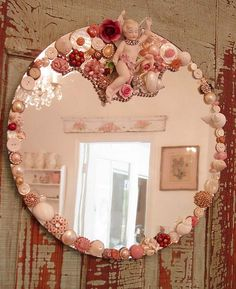 Shabby Mirror... I would just glue fabric rosettes & other small embellishments on this