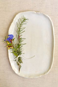 Lee Wolfe Pottery — Modern ceramic platter with organic edges