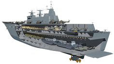 Cutaway image of the Australian Canberra class LHD showing on the ships' two azipods. (Defence)