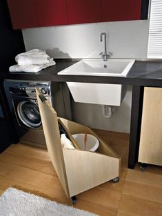 Trendy diy bathroom storage under sink kitchen organization 46 Ideas Under Sink Storage, Laundry Room Organization, Laundry Room Design, Small Storage, Diy Storage, Kitchen Storage, Storage Spaces, Storage Ideas, Organization Ideas