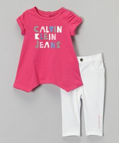 Look at this Pink Handkerchief Top & White Leggings - Infant, Toddler & Girls on #zulily today!