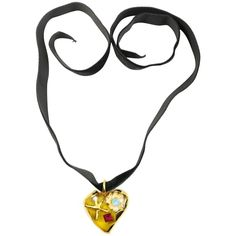 Christian Lacroix Yellow Heart Shaped Gold Toned Black Velvet Strap Necklace 1990