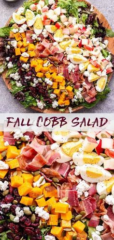 This Fall Cobb Salad is a twist on the classic main dish salad. Butternut squash, apples, pepitas, dried cranberries and a maple balsamic vinaigrette give this hearty salad plenty of fall flavor! #salad #fallsalad #cobbsalad #fallrecipes #butternutsquash #apples #bacon #healthyrecipes #thanksgivingrecipes