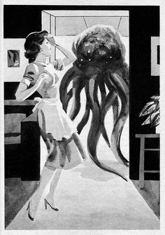 Help, there's a giant tentacled alien in my kitchen! Vintage illustration by Wally Wood