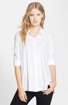Eileen+Fisher+Organic+Cotton+Long+Classic+Collar+Shirt+available+at+#Nordstrom