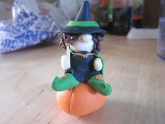 Pumpkin Witch - OOAK Polymer Clay Sculpture