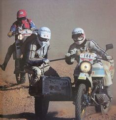 Anne Marie Lecomte  and the De Jonghe - Verboven #Suzuki sidecar, #Dakar 1985.