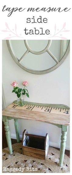 Using a tape measure graphic and some Mod Podge, this old side table has been given a new lease on life. Full tutorial   www.raggedy-bits.com