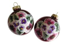 Hand-painted Christmas Ornament Glass Ball Flowers Floral Design Red Ball Hand Painted Ornaments Christmas (painted by Helen Krupenina)