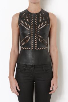 Sass & Bide's 'World of Traps' laser cut leather top