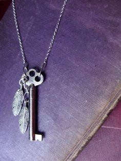 ON SALE  Lockfeather  OOAK Skeleton Key Necklace by luminoddities