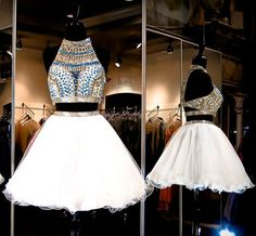 White Homecoming Dress,2 Piece Homecoming Dresses,Beading Homecoming Gowns,Short