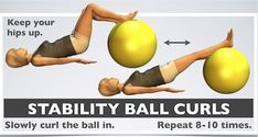 Knee strengthening exercises: Illustrated with 7 videos challenging moves! Balance Ball Exercises, Knee Strengthening Exercises, Back Exercises, Workout Exercises, Workout Tips, Arthritis, How To Strengthen Knees, Core Stability, Physical Therapy
