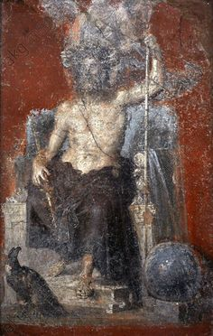 The powerfull and solemn figure of enthroned Zeus, crowned by a Victory and flanked by the cosmic symbols of the eagle and the globe. Pompeii. 1st century.