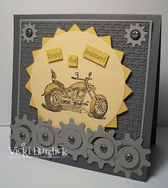 guy card  like the gears and nail heads with the motorcycle.