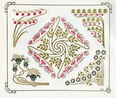 Art Nouveau Ornaments. Alfons Mucha. Template for Tattoo and Embroidery. Flowers tendrils, Leaves, waves, Floral motifs, Abstract blossom forms.