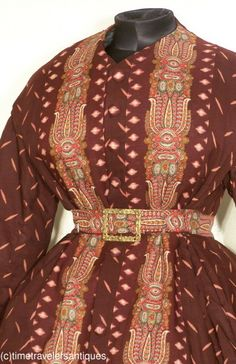 Close up of c.1865 wrapper. civil war era fashion