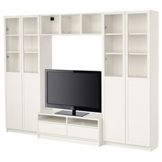 """BILLY Bookcase combination with TV bench - white - IKEA $429  .Product dimensions Width: 110 1/4 """" Max. depth: 15 3/8 """" Height: 79 1/2 """" Max screen size/flat screen TV: 46 """""""