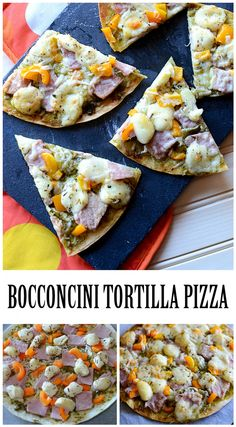 Bocconcini Tortilla Pizza with ham and herbs - the perfect appetizer for a fun party Easy Appetizer Recipes, Easy Dinner Recipes, Holiday Recipes, Breakfast Recipes, Yummy Recipes, Fun Desserts, Dessert Recipes, Tortilla Pizza, Good Food