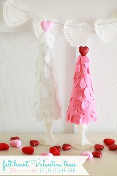 felt heart Valentine trees by Lolly Jane #ValentinesDayDecor