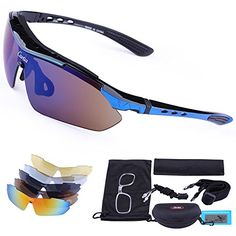 Carfia Sports Sunglasses UV400 Protection Polarized Cycling Sunglasses for Skiing Running Cycling Fishing Golf Tr90 Unbreakable Frame with 5 Set Interchangeable Lenses for Mens Womens * Click on the image for additional details.