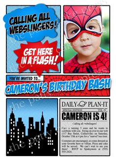 Spiderman Photo Invitation Birthday Party Custom Printable Digital File Spiderman Superman Batman Captain America Superhero Squad. $16,00, via Etsy.