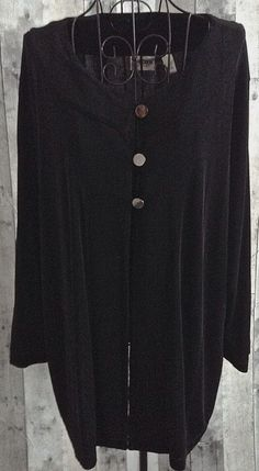 Chicos Travelers Black Stretch Jersey Top Cardigan Jacket Blouse Size 3/XL 16…