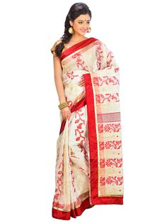 Offwhite & Red colors self Design Indian ethnic wear Fashion saree with unstitched blouse piece - DSCH050 - AB13400310