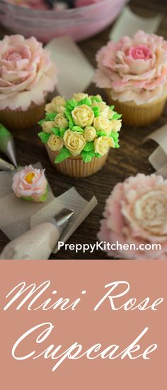 Mini Rose cupcakes made with delicious icing and they are perfect for birthday p. Mini Rose cupcakes made with delicious icing and they are perfect for birthday parties. Best Dessert Recipes, Cupcake Recipes, Easy Desserts, Baking Recipes, Sweet Recipes, Delicious Desserts, Cupcake Cakes, Cupcake Ideas, Party Recipes