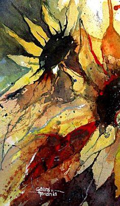 Gerard Hendriks WATERCOLOR Watercolor Sunflower, Sunflower Art, Abstract Watercolor, Watercolor And Ink, Watercolor Flowers, Watercolor Paintings, Watercolors, Art Floral, Art Aquarelle