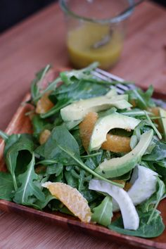 Spinach and Arugula Citrus Salad with Fennel and Avocado | aggieskitchen.com  #salad #recipe #healthy