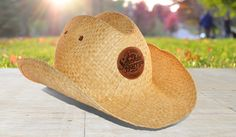 Straw Cowboy Hat with Leather Embossed Badge