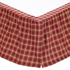 BRAXTON Queen Bedskirt Dust Ruffle Red//Ebony//Natural Plaid Cotton Ruffle