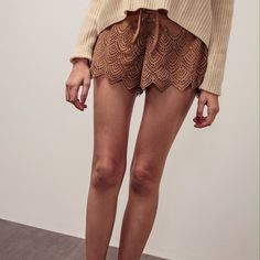 "Boho Suede Laser Cutout Scallop Drawstring Shorts ZARA, All Saints, Burberry, J Crew Similar Style  Olivia Palermo, Karlie Kloss, Kate Moss Favorite Style  Pre-order! Deliver in 10 days after placing the order.  - Product detail:  • Brand: Pazzo  • Size: S, M, L (Measure from size S: Waist: 12.5"", Butt: 19"", Length: 14"") • Laser cutout detail • Adjustable drawstring • Color: Camel & Black • Material: 100% Polyester • 100% BRAND NEW & AUTHENTIC Zara Shorts"