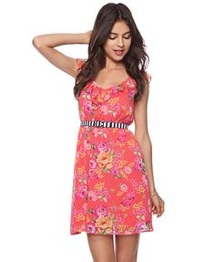 Ruffled Floral Dots Dress from Forever21. I like this but I would wear a brown thin belt instead of the black and white belt