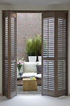 Luxurious Nook only for you - picket shutters - shutters - Taras - okiennice drewniane -. nook only for you - picket shutters - . Old Shutters, Interior Shutters, Wooden Shutters, Window Shutters, Interior Exterior, Patio Door Shutters, Door Curtains, Blinds For Patio Doors, Exterior Design