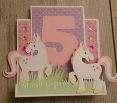 Marianne's cards - Meisjes kaart met paardje/eenhoornmal van Eline (marianne design)