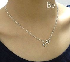 Sideways anchor necklace - little anchor necklace in silver Anchor Necklace