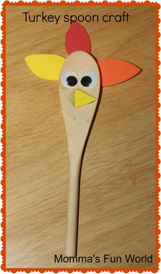 Momma's Fun World: Turkey spoon craft. A fun way to celebrate Thanksgiving! Fun Crafts To Do, Holiday Crafts For Kids, Summer Crafts, Cute Crafts, Fall Crafts, Daycare Crafts, Kid Crafts, Paper Crafts, Thanksgiving Preschool
