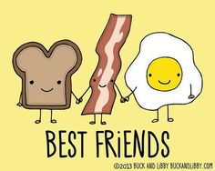 Toast Bacon and Eggs Breakfast Best Friends Frameable Illustration Print by BuckAndLibby Best Friend Drawings, Bff Drawings, Sharpie Drawings, Best Friends Forever, Grafik Design, Cute Wallpapers, Illustration, How To Draw Hands, I Am Awesome