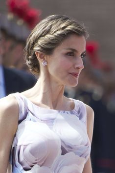 Queen Letizia of Spain Braided Updo - Queen Letizia of Spain went for fairytale elegance with this braided updo during a military event in Zaragoza.